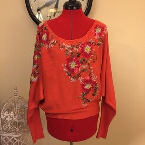 Free People Bouquet Embroidered Sweater Sz XS